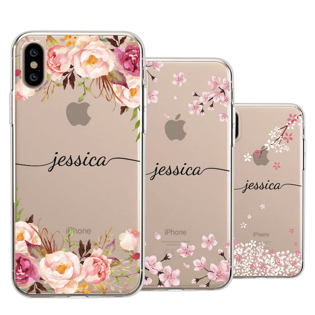 Custom Your Name Tropical Floral Border Beauty Phone Soft Transparent Case For IPhone 11 Pro Max XS Max XR X 7Plus 8Plus