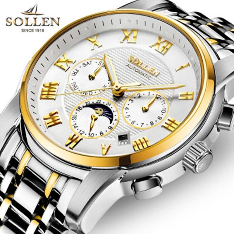 SOLLEN Men Watch Top Brand Luxury Automatic Mechanical Watch Men Sport Waterproof Luminous Moon Prase Watch Relogio Masculino