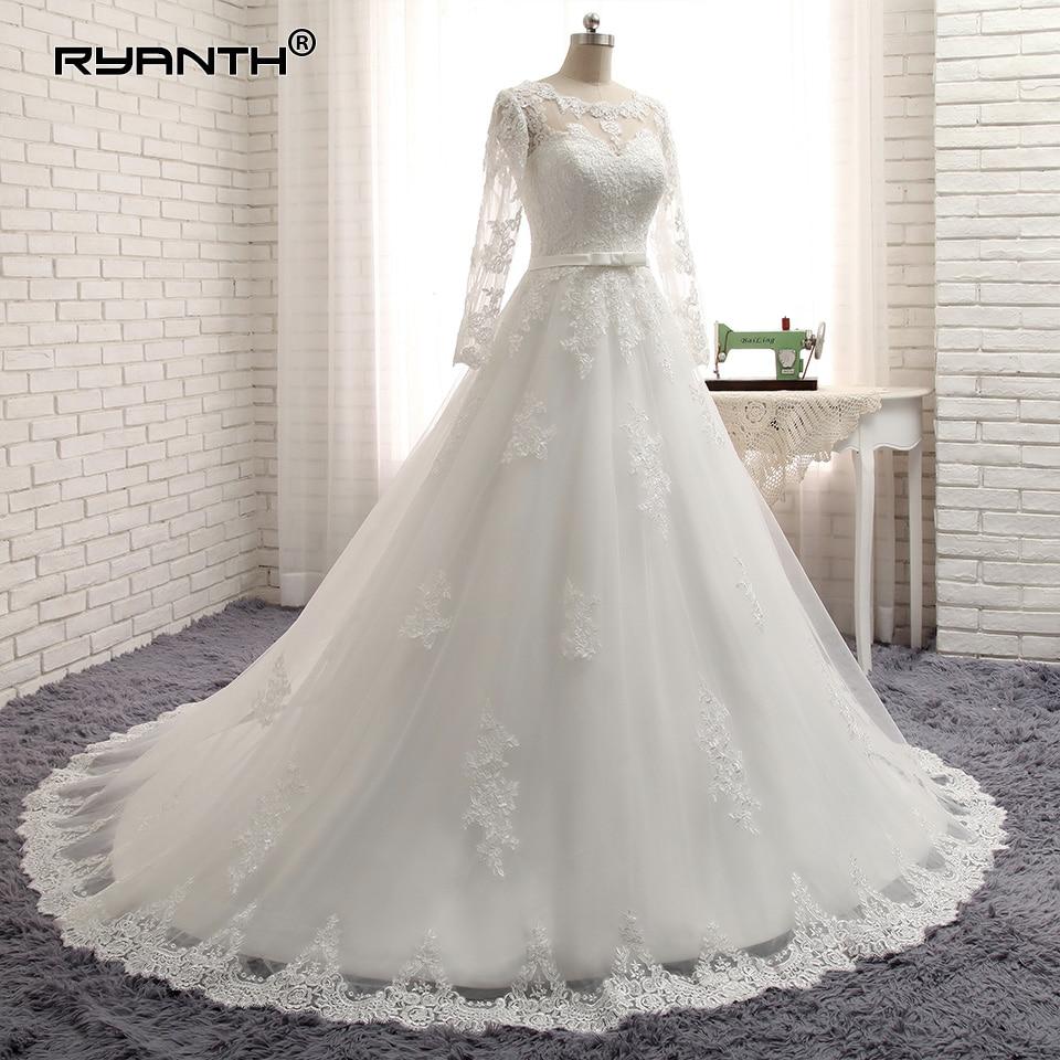 Cheap Vestido De Noiva 2019 Hot Long Sleeves Lace Bohemian Wedding Dress Custom Made Plus Size