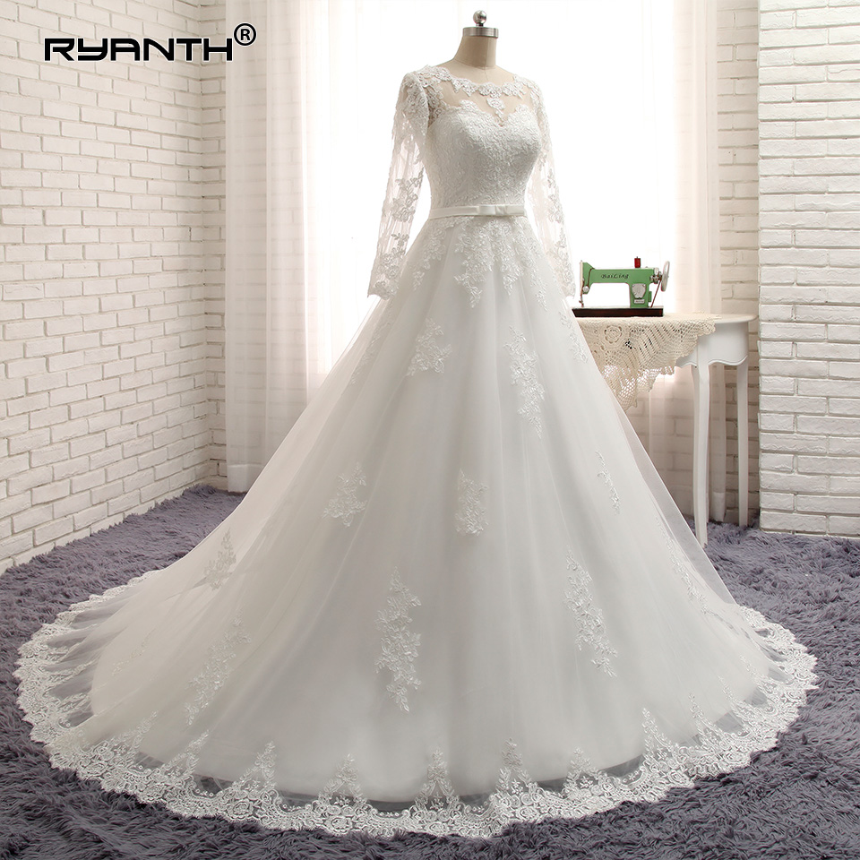 Cheap Vestido De Noiva 2019 Hot  Long Sleeves Lace Bohemian Wedding Dress Custom Made Plus Size Princess Ball Wedding Gowns