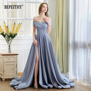 Image 2 - 2020 BEPEITHY Abiye Long Tail Dress Off The Shoulder Evening Dress Party Elegant Robe De Soiree Sexy Prom Dresses High Slit