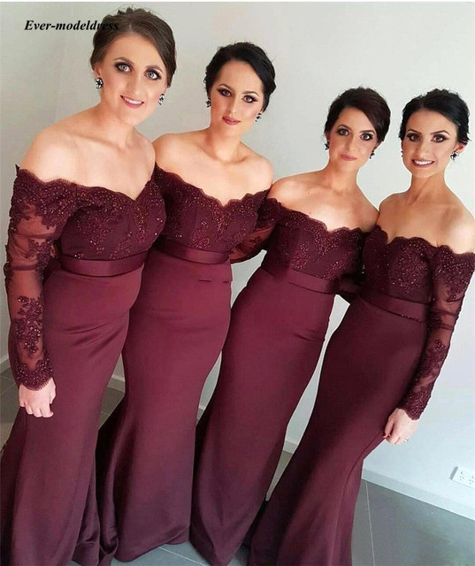 2019 Long Sleeve Mermaid   Bridesmaid     Dress   V Neck Off Shoulder Burgundy Wedding Guest Party Gowns Beaded Lace Maid Of Honor