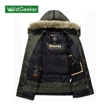 Wildgeeker Men's Winter Parkas Jacket Fur Collar Outerwear Fashion Hood Padded Warm Male Jackets Hooded Men's Winter Jacket