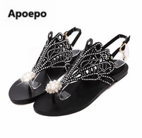 Apoepo Brand Flip Flops Women Sandals Rhinestone Bohemian Beach Flat Sandals Gold Black Zipper Dress Shoes