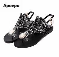 Apoepo Brand Flip Flops Women Sandals Rhinestone Bohemian Beach Flat Sandals Gold Black Zipper Dress Shoes