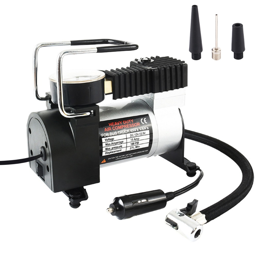 Portable car tire Auto Air Compressor Pump 100 PSI DC 12V Tire Inflator Pressure Gauge with Nozzle Adaptors for Car Bicycle Ball