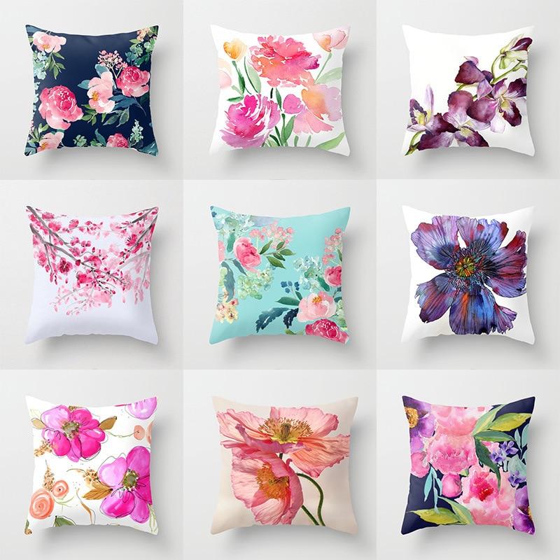 Flowers Painting Waist Throw 45x45cm Cushion For Home Decor Car Sofa Cushions Cojines Decorativos Almofadas Para Sierkussen
