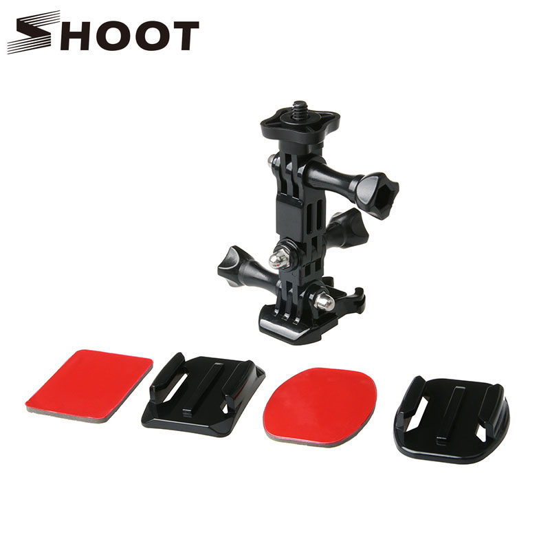 SHOOT Action Camera Helmet Tripod Mounts for GoPro Hero 5 4 3 Xiaomi Yi 4K SJCAM SJ4000 SJ5000 Go pro Accessories Set gopro accessories head belt strap mount adjustable elastic for gopro hero 4 3 2 1 sjcam xiaomi yi camera vp202 free shipping