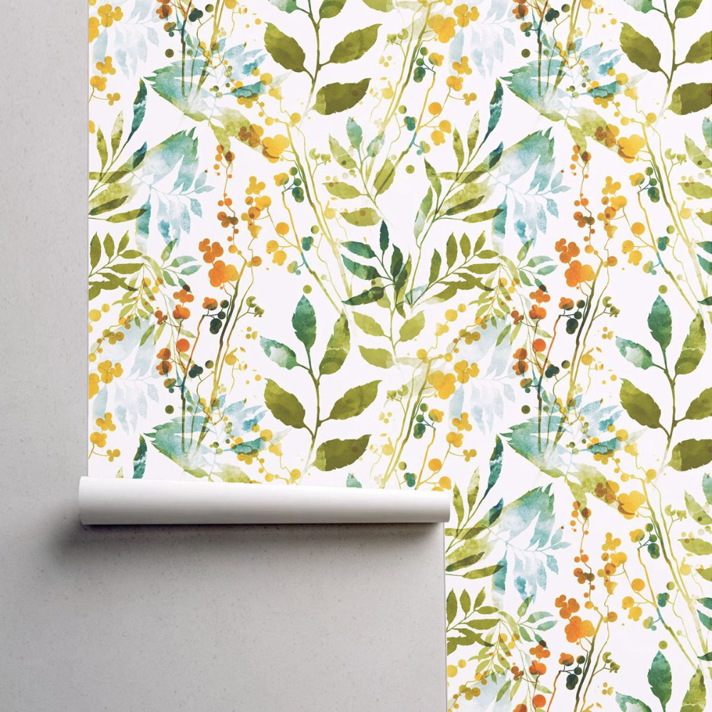 Hand Drawn Boho Spring Abstract Watercolor Wallpaper With Imprints