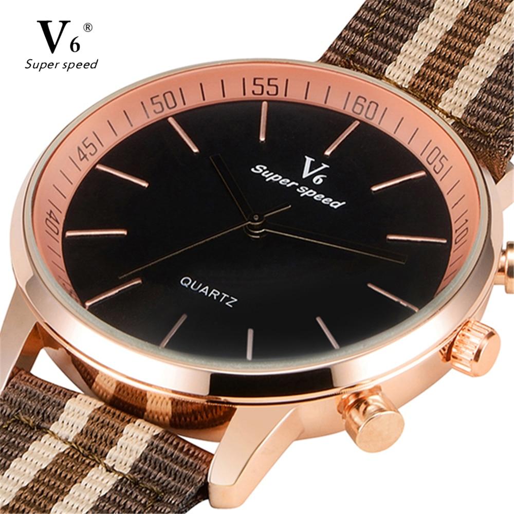 Nueva moda Top V6 hombres movimiento de cuarzo reloj de pulsera banda - Relojes para hombres