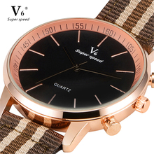 New Fashion Top V6 Men Quartz Movement Wristwatch Fabric Band Gold Case Classic Casual Simple Dial Male Gift Sport Watches