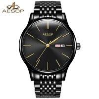 AESOP Simple Men Watch Men Automatic Mechanical Sapphire Crystal Thin Wrist Wristwatch Black Male Clock Relogio