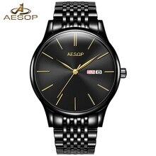AESOP Simples Hombres Del Reloj de Los Hombres Mecánicos Automáticos de Cristal de Zafiro Fino Reloj de Pulsera Negro Hombre Reloj Relogio masculino Caliente 46