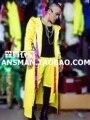 Ночной клуб певец dj комплект одежды мужской Моды Желтый хип-хоп письма буйтер ремни длинный плащ костюм костюм
