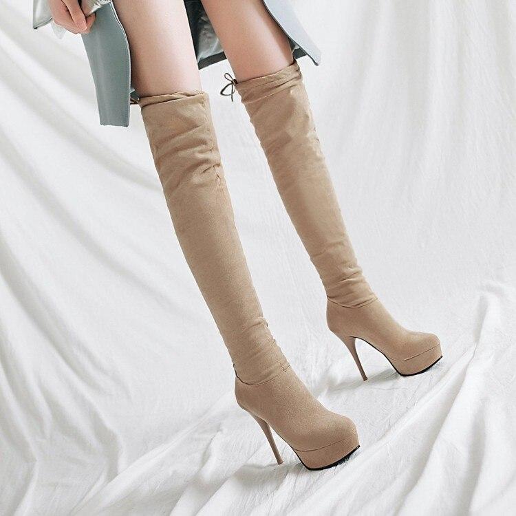 Big Size 11 12 13 14 15 16 17 Suede Round Head Slim High Heel Sleeve Waterproof Platform Over Knee Long Sleeve Fashion Boots
