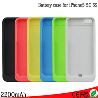 2200mAh For IPhone 5 5s 5c External Portable Battery Backup Charger Charging Bank Power Case Combined
