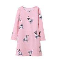 Mädchen Nachtwäsche Kleid 2018 Frühling Kaninchen Druck Pyjamas Für Mädchen Herbst Casual Hause Baumwolle Cartoon Nachthemd Kinder Kleidung