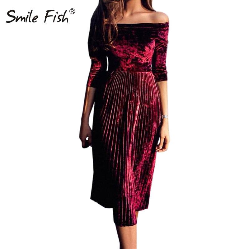 c715b7f6339be Comprar Inverno Elegante Mulheres Lady Partido Midi Vestidos de Slash Neck  Fora Do Ombro Outono Plissado Primavera Vestido De Veludo Robe Plus Size  GV194 ...