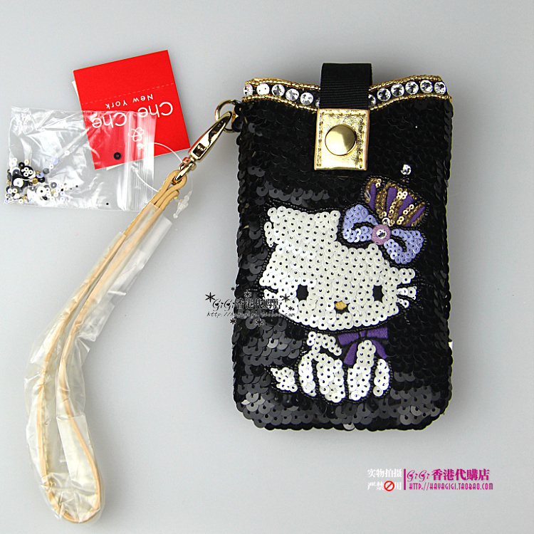 b3bd95bf914d Che Che New York fashion ladies  gift paillette cute hello kitty purse  lipstick coin case Cell phone case Mobile Bag phone Pouch