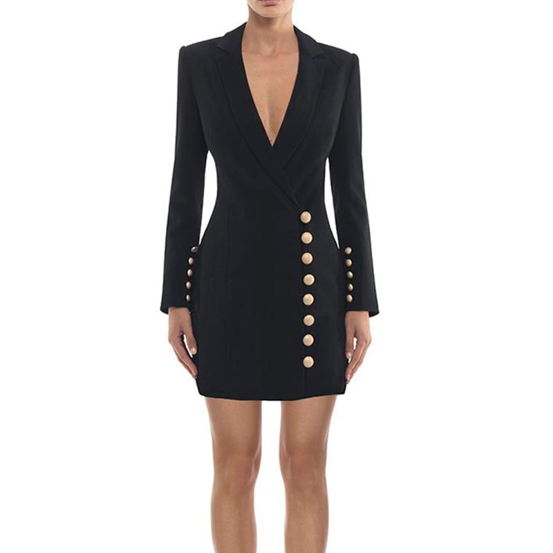 HIGH QUALITY Newest Fashion 2019 Stylish Designer Dress Women s Metal Buttons Notched Collar Slim Dress