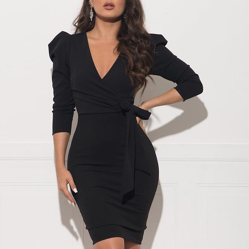 V neck bow tie waist bodycon dress Women half sleeve black wrap dress elegant ladies work wear Winter 2019 Vestidos mujer