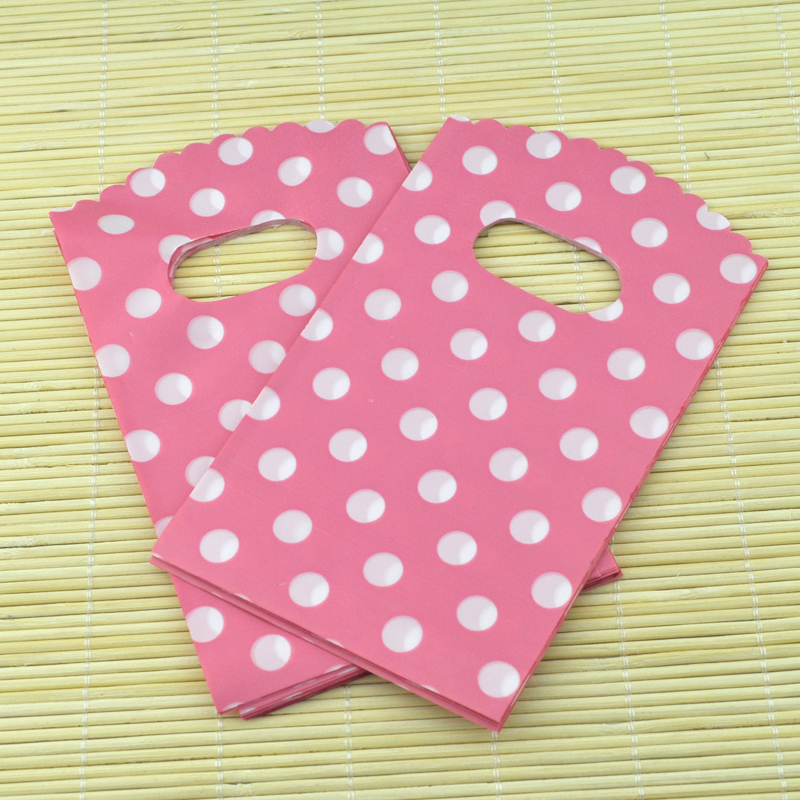 9*15cm 50pcs/lot dots design pink small plastic bag jewelry packaging bag cute plastic gift bags shopping bags with handle