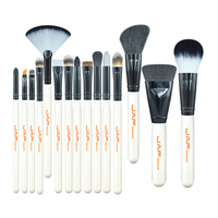 15-piece Makeup Brush Kit Animal Hair Syntehtic Hair White Handle Conveniently Portable Make Up Brush Set