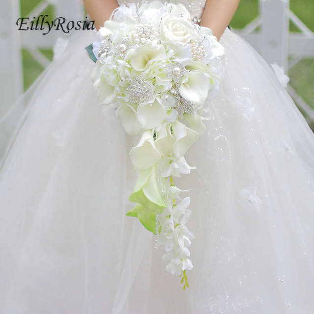 Waterfall Wedding Bouquet Bride Jewelry Crystal Calla Lily Bridal