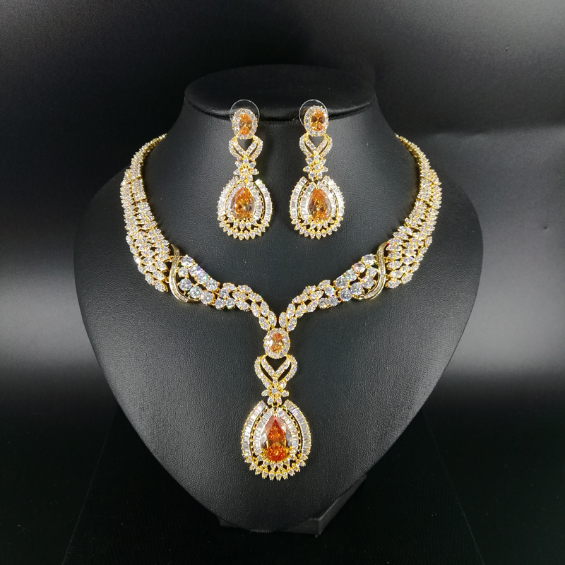 New fashion luxury romantic palace champagne water drop zircon necklace earring set,wedding bride formal jewelry free shipping!New fashion luxury romantic palace champagne water drop zircon necklace earring set,wedding bride formal jewelry free shipping!