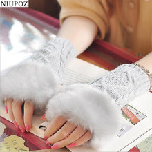 Lovely Fashion Winter Sheep Wool Knitted Faux Rabbit Fur Fingerless Knitted Short Gloves Women Wrist Soft Warm Mitten G52-1(China)