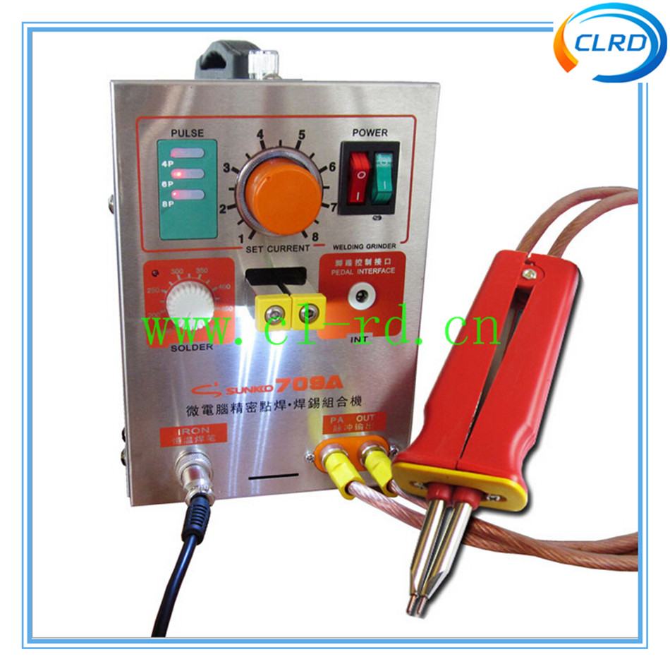 1pcs/lot 709A LED Pulse Battery Spot Welder Spot Welding Machine 110V/220V Supply Voltage for 18650 16430 14500 batt