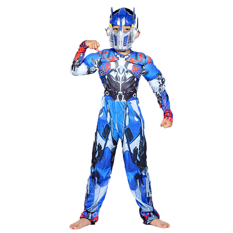 Image 2 - Optimus Prime Bumble Muscle Jumpsuits+ Mask Halloween Costume for Kids Boys Girl The Transformers Movies Carnival Disfraz Mujer