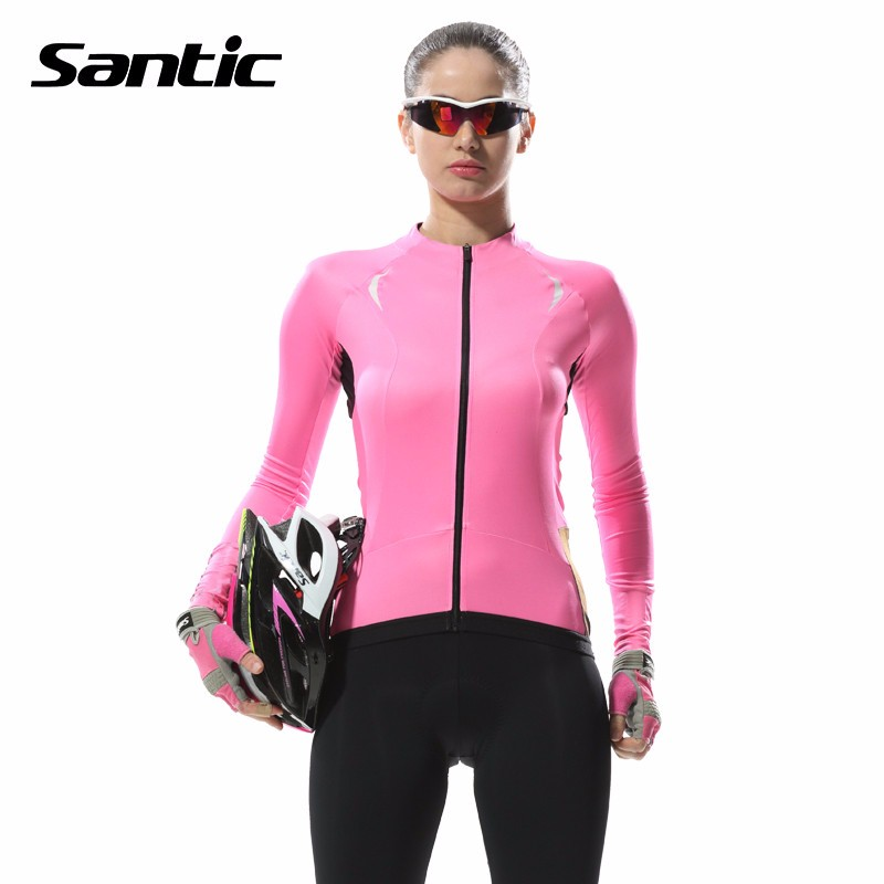 Santic Women Long Sleeve Cycling Jersey Pink Breathable MTB Bike Sportswear Clothing Spring Autumn Quick Dry Bicycle Clothes cheji women mtb cycling jersey sets bike outdoor sportswear maillot clothing quick dry cycling clothing long sleeve jersey
