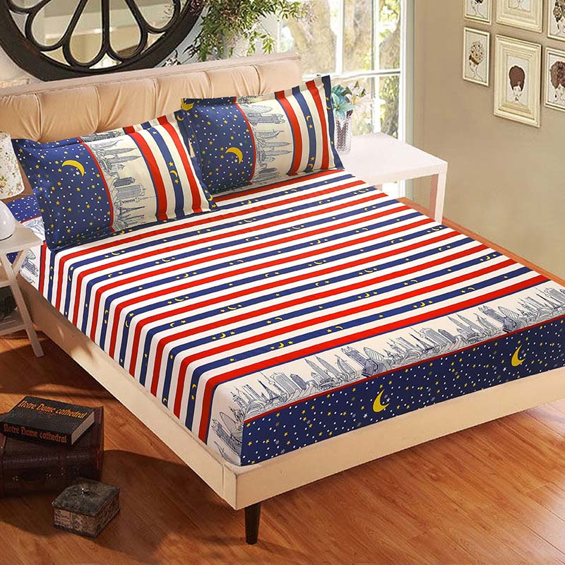 3pcs Bed Sheet With Pillowcase Blue Flower Printed Bed Linen Queen Mattress Covers Fitted Sheet Sets With Elastic For King Size