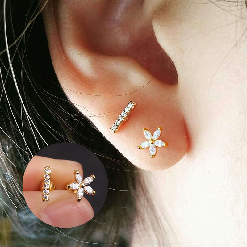 Us 1 58 20 Off Sellsets Silver And Gold Flower And Bar Cartilage Earring Helix Piercing Jewelry Cz Cartilage Stud Conch Rook Tragus Earring In Body