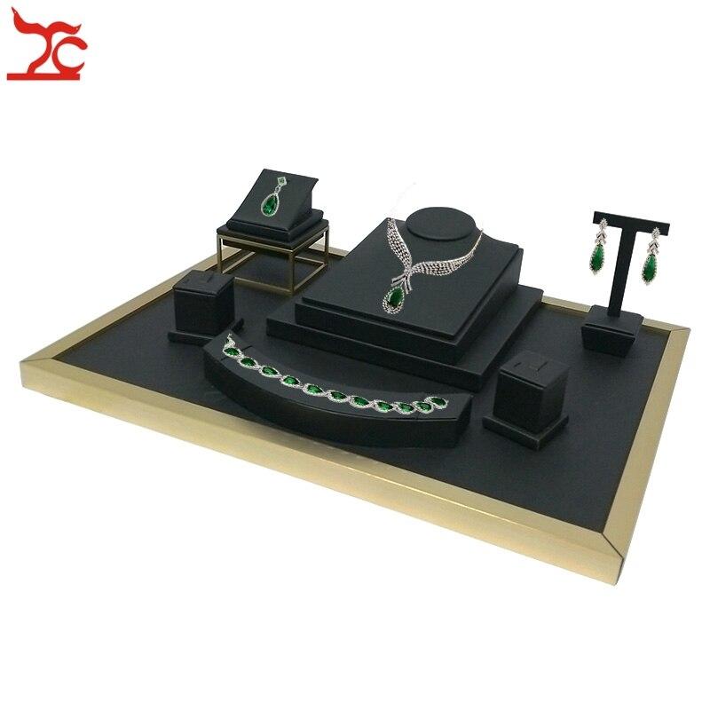 เครื่องประดับสแตนเลสหน้าต่างตู้โชว์สร้อยคอหนังเทียมสีดำแหวนสร้อยข้อมือจี้ต่างหูขาตั้งจอแสดงผล-ใน บรรจุภัณฑ์อัญมณีและที่ตั้งโชว์ จาก อัญมณีและเครื่องประดับ บน   1