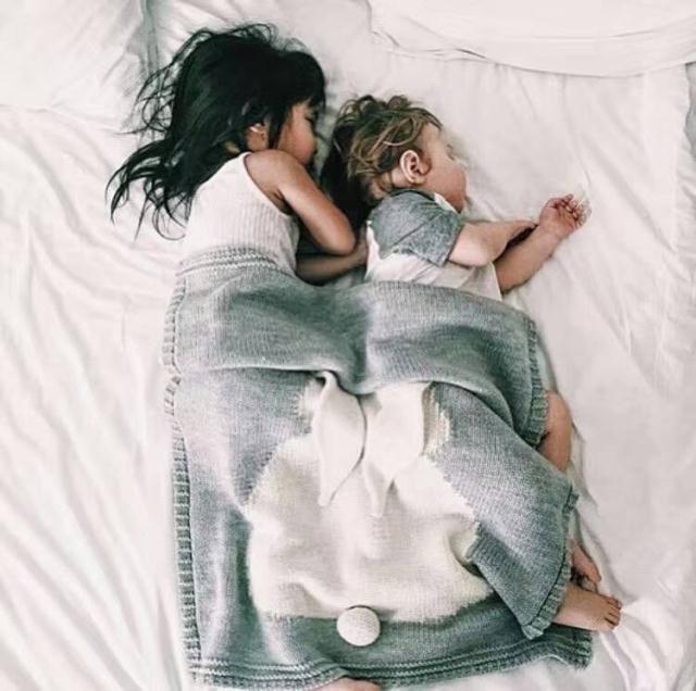 Серый Розовый кролик жаккардовые трикотажные детское одеяло хлопка wikkeldeken ребенка обертывание муслин пеленать новорожденного фотографии реквизит подарок