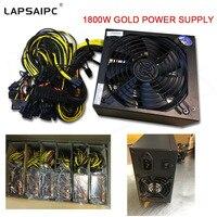 Lapsaipc мощность 1800 Вт добыча источника питания для R9 380 RX 470 RX480 6 GPU карты SATA IDE для 6 GPU eth btc Эфириума Максимальная мощность 1800 Вт
