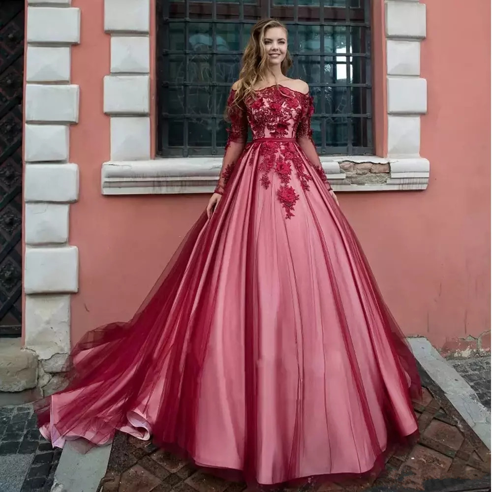 Luxury 3D Flowers Tulle Off shoulder Quinceanera Ball Gown Pageant Party Dresses