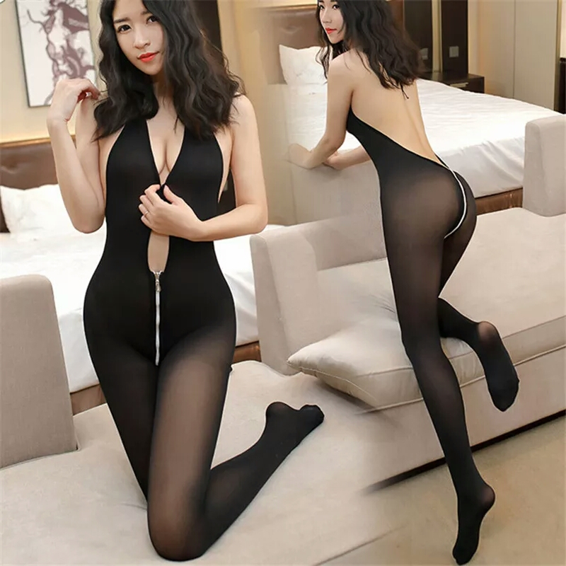 Plus Size Eroitc Lingerie Sexy Costumes Open Crotch Tights Female Sexy Lingerie For Women Deep V Zipper Nylon Babydoll Sleepwear