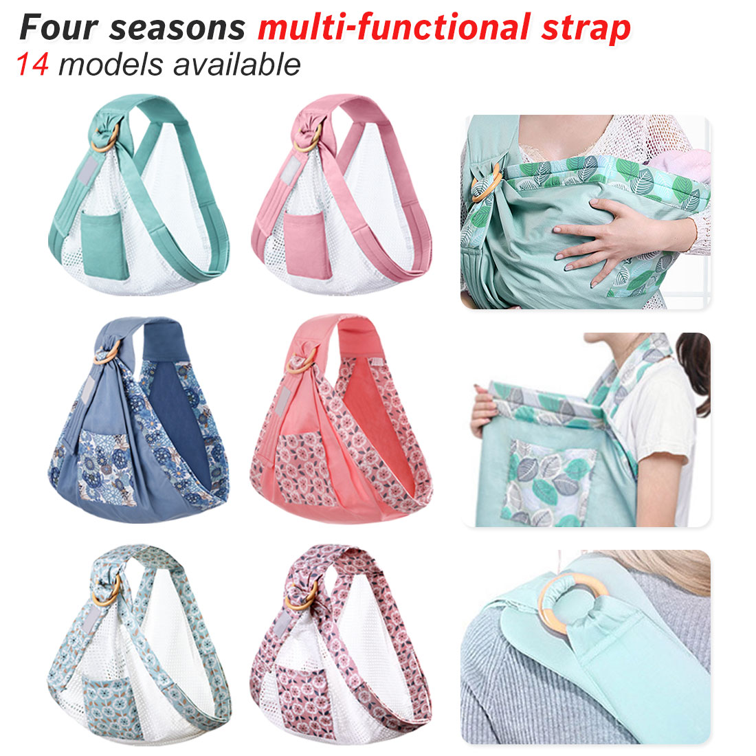 Portable Baby Wrap Carrier Newborn Sling Dual Use Infant Nursing Cover Carrier Mesh Fabric Breastfeeding Carriers Up To 130 Lbs