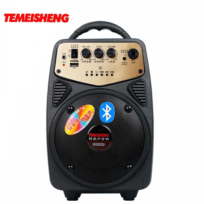 Prix pour Temeisheng portable haute puissance sans fil bluetooth haut-parleur de soutien tf carte usb disque lecture aux et entrée microphone haut-parleur
