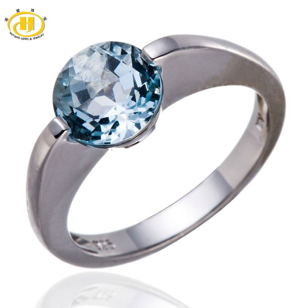 Hutang Real Sky Blue Topaz Solid 925 Sterling Silver Solitaire Ring Love Gift Fine Jewelry Fashion Engagement Wedding Rings wedding rings 925 sterling silver rings for men blue topaz ring fashion gift jewelry 100