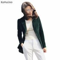 2019 Autumn Fashion Women Velvet Blazer Jackets Green Long Sleeve Pockets Korea Slim Female Jackets Casual Ladies Office Coat