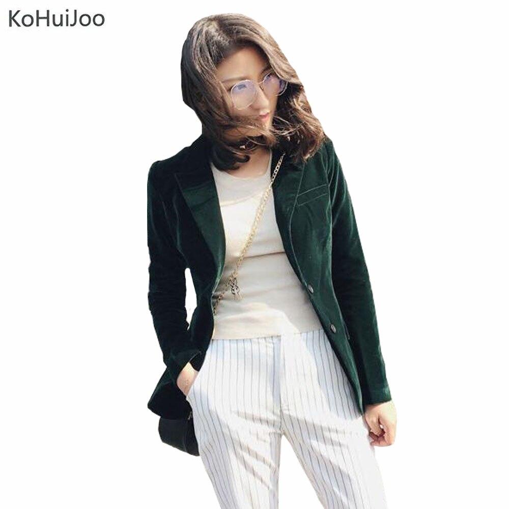 2019 automne mode femmes velours Blazer vestes vert à manches longues poches corée Slim femme vestes décontracté dames bureau manteau