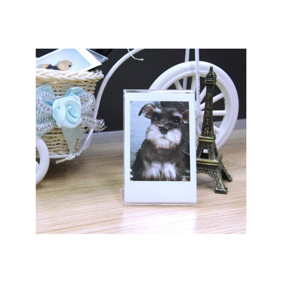 Image 2 - 2 Pieces L  Shaped Acrylic Transparent Stand Simple Photo Frame for Fujifilm Instax Mini Mini LiPlay / 7s/ 8/ 9 /70/90 Mini Film-in Camera/Video Bags from Consumer Electronics