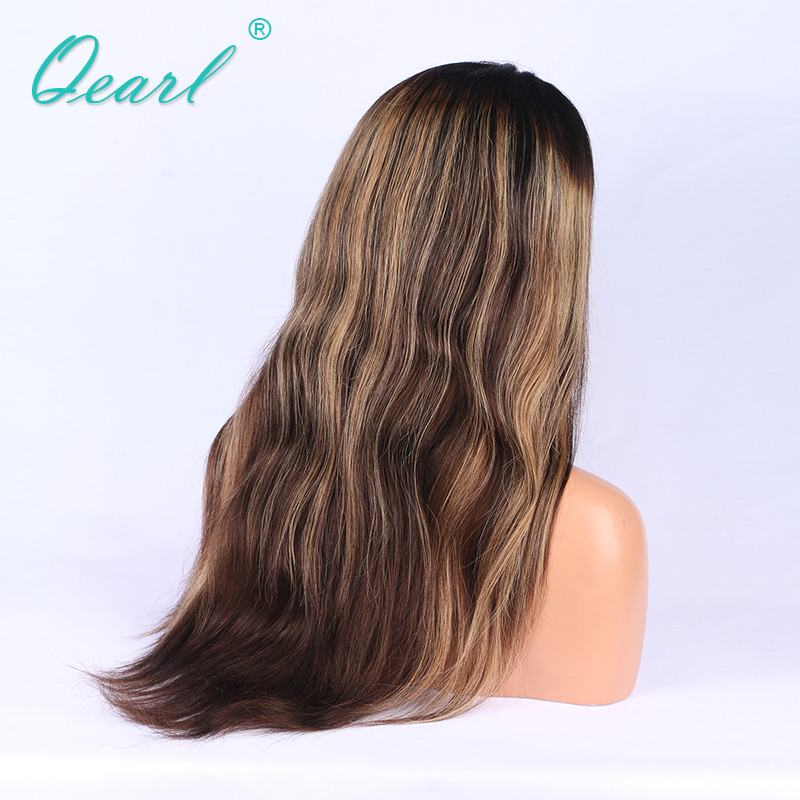 Qearl Full Lace Wig 100% Brazilian Remy Hair 1b/3#/27# Long Lace Wig Pre Plucked Hairline with Baby Hairs Highlight Color Wigs