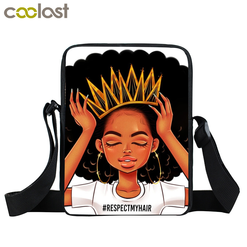 Afro Lady Girl messenger bag Africa Beauty Princess small shoulder bag brown women handbag mini totes teenager crossbody bags 14