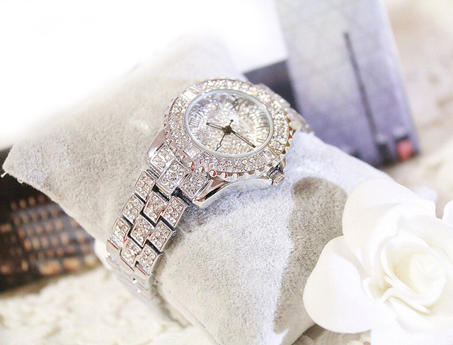 New Luxury Rhinestone Bracelet Watch Women Diamond Fashion Ladies Rose Gold Dress Watch Stainless Steel Crystal Wristwatch Clock Female Watches Jewellery & Watches