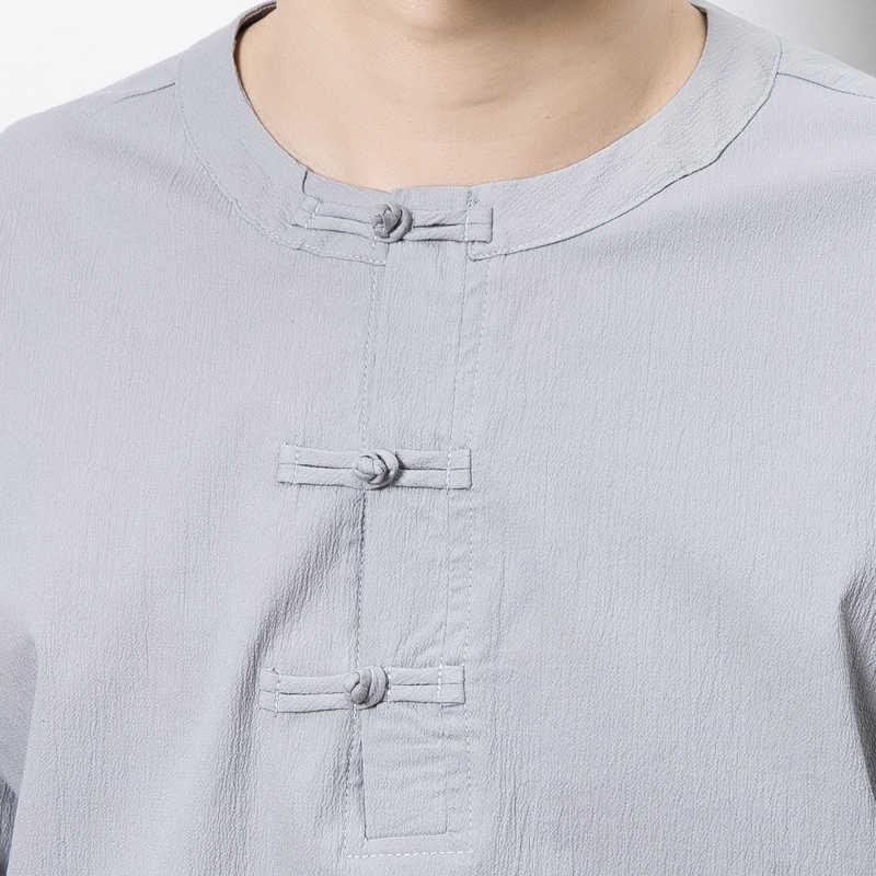 中国男性コットンリネンtシャツ無地ビッグサイズ男性緩いtシャツシャツ